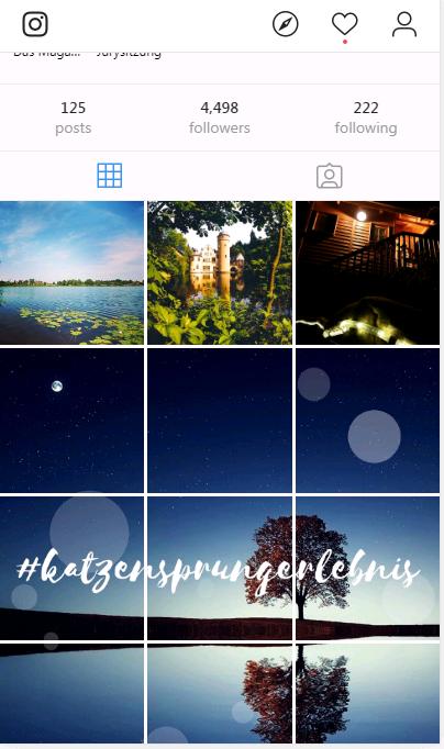 Screenshots des Katzensprung Instagram Accounts mit schönen Naturfotos.