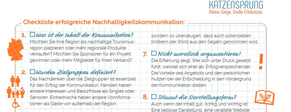 Nachhaltigkeit kommunizieren für Unternehmen. Katzensprung-Factsheet.